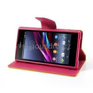 Fancy Peňaženkové puzdro pre mobil Sony Xperia Z1 - žlté - 3