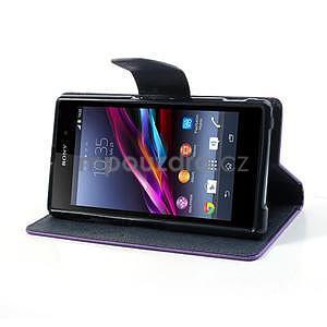 Fancy peněženkové pouzdro na mobil Sony Xperia Z1 - fialové - 3