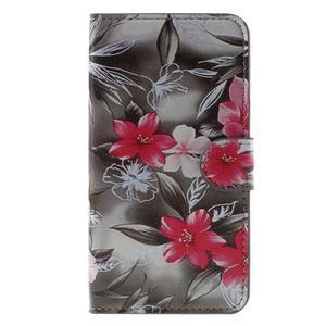 Nice koženkové puzdro pre mobil Acer Liquid Z520 - červené kvety - 3