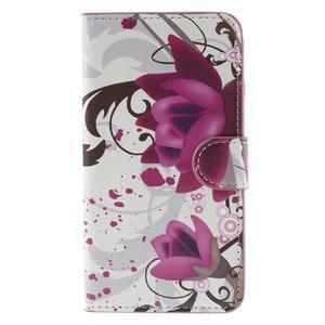 Nice koženkové puzdro pre mobil Acer Liquid Z520 - fialové kvety - 3