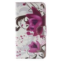 Nice koženkové puzdro pre mobil Acer Liquid Z520 - fialové kvety - 3/7