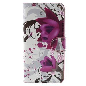 Valet peňaženkové puzdro pre Acer Liquid Z530 - fialové kvety - 3