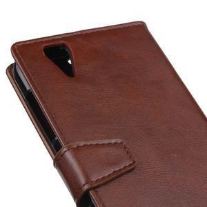 Leat PU kožené puzdro pre mobil Acer Liquid Z630 - hnedé - 3