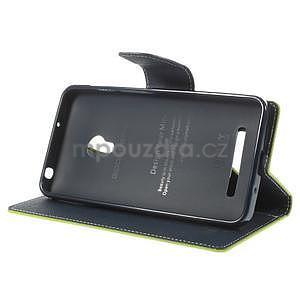 Zelené/tmavě modré peňaženkové puzdro na Asus Zenfone 5 - 3