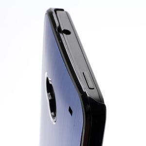 Broušený hliníkový plastový kryt pre HTC One M7 - modrý - 3