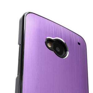 Broušený hliníkový plastový kryt na HTC One M7 - fialový - 3
