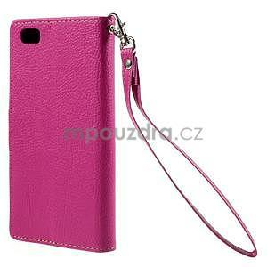 Zapínací PU kožené pouzdro na Huawei P8 Lite -rose - 3