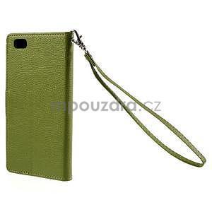 Zapínací PU kožené pouzdro na Huawei P8 Lite - zelené - 3