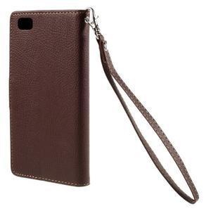 Zapínací PU kožené pouzdro na Huawei P8 Lite - hnědé - 3