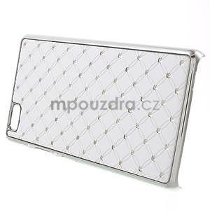 Drahokamový plastový obal na Huawei Ascend P8 Lite - bílý - 3