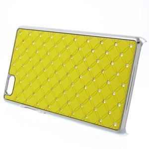 Drahokamový plastový obal na Huawei Ascend P8 Lite - žlutý - 3