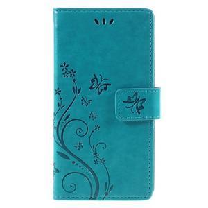 Butterfly PU kožené puzdro na Huawei P9 Lite - modré - 3