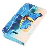 Peněženkové pouzdro na mobil Huawei Y3 a Y360 - modrý motýl - 3/7