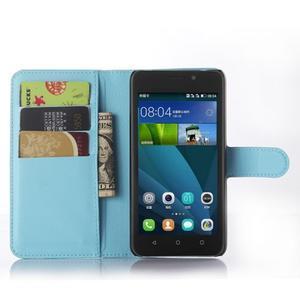 Modré zapínacie PU kožené puzdro na Huawei Y635 - 3