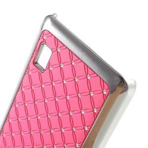 Drahokamový plastový kryt na Huawei Y635 -  ružový - 3