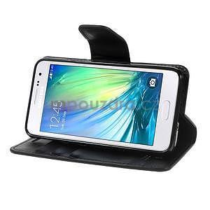 Čierné kožené peňaženkové puzdro pre Samsung Galaxy A3 - 3