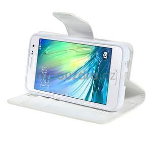 Bílé kožené peňaženkové puzdro pre Samsung Galaxy A3 - 3