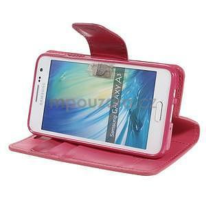 Rose kožené peňaženkové puzdro pre Samsung Galaxy A3 - 3