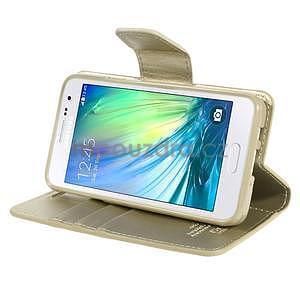 Zlaté kožené peňaženkové puzdro na Samsung Galaxy A3 - 3