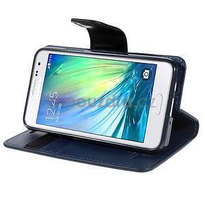 Tmavě modré kožené peňaženkové puzdro na Samsung Galaxy A3 - 3