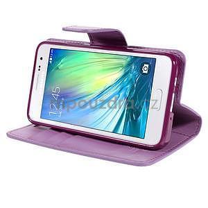 Fialové kožené peňaženkové puzdro pre Samsung Galaxy A3 - 3