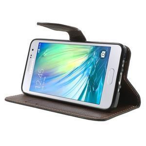 Čierné/hnedé kožené puzdro pre Samsung Galaxy A3 - 3