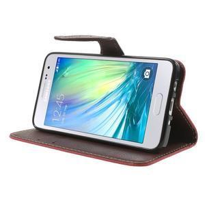 Červené/hnedé kožené puzdro na Samsung Galaxy A3 - 3