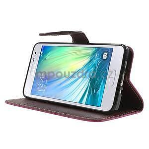 Rose/hnedé kožené puzdro na Samsung Galaxy A3 - 3