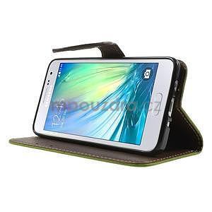 Zelené/hnedé kožené puzdro na Samsung Galaxy A3 - 3