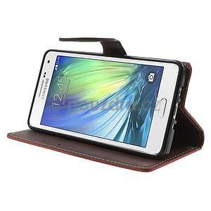 Červené/hnedé kožené puzdro na Samsung Galaxy A5 - 3