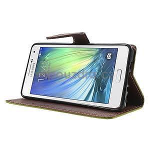 Zelené/hnedé kožené puzdro na Samsung Galaxy A5 - 3