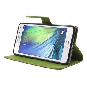 hnedé/zelené kožené puzdro pre Samsung Galaxy A5 - 3