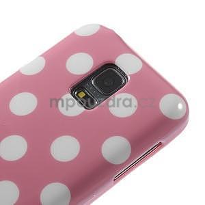Růžový puntíkatý gelový obal na Samsung Galaxy S5 mini - 3