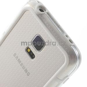 Bílý gelový kryt s plastovými lemy na Samsung Galaxy S5 mini - 3