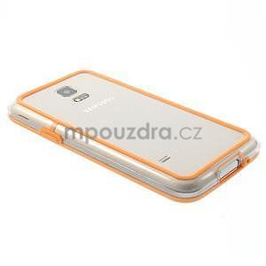 Oranžový gélový kryt s plastovými lemy pre Samsung Galaxy S5 mini - 3