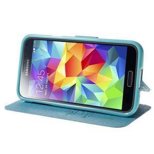 Světle modré  zapínací pouzdro na Samsung Galaxy S5 mini - 3
