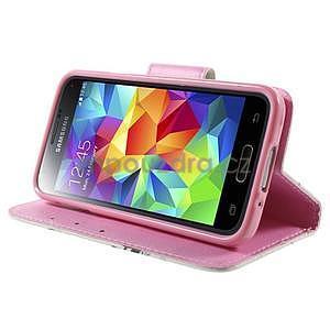 Zapínací peňaženkové puzdro pre Samsung Galaxy S5 mini - kvetinová sova - 3