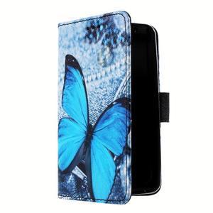 Peňaženkové puzdro pre mobil Lenovo A319 - modrý motýľ - 3