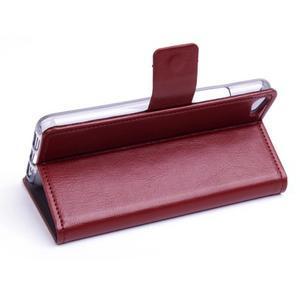 Peňaženkové PU kožené puzdro pre Lenovo S60 - hnedé - 3