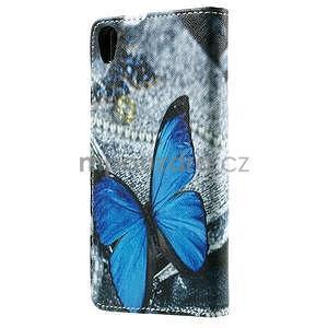 PU kožené peňaženkové puzdro na Lenovo S850 -  modrý motýľ - 3