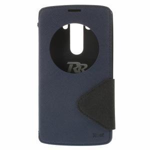 Diary puzdro s okienkom na mobil LG G3 - tmavomodré - 3