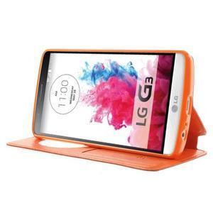 Roar peňaženkové puzdro s okienkom na LG G3 - oranžové - 3