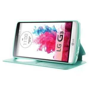Roar peněženkové pouzdro s okýnkem na LG G3 - cyan - 3