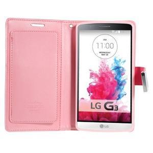 Luxusní PU kožené pouzdro na mobil LG G3 - rose - 3