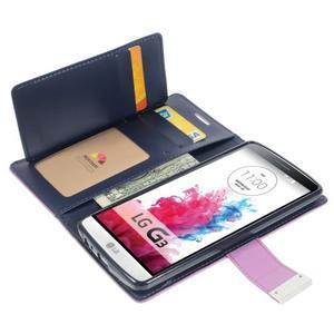 Luxusní PU kožené puzdro pre mobil LG G3 - fialové - 3