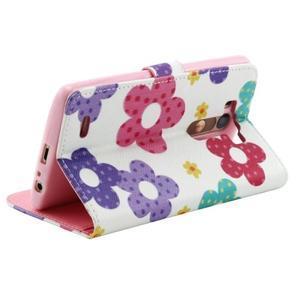 Obrázkové koženkové puzdro pre mobil LG G3 - maľované kvetiny - 3