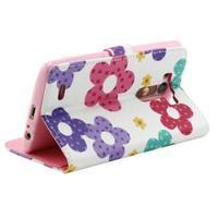 Obrázkové koženkové puzdro pre mobil LG G3 - maľované kvetiny - 3/4