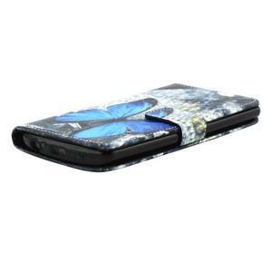 Obrázkové koženkové puzdro pre mobil LG G3 - modrý motýľ - 3
