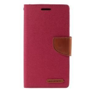 Canvas PU kožené/textilné puzdro pre LG G3 - rose - 3