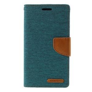 Canvas PU kožené/textilné puzdro pre LG G3 - zelené - 3